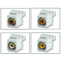 Leviton 40735-RYE - Quickport Insert w / 110 Punchdown - RCA, Yellow for Composite Video - Black