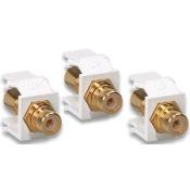 Leviton 40830-BTE - Quickport Gold Plated RCA Insert - Light Almond w/Black Band
